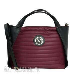 torebki torebka manzana klasyczny kuferek bordowa - jagódka, torebka