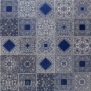 kafle ciemnoniebieskie arabeski, kafle, płytki, dekory, marokańskie, ornamentowe