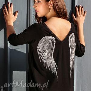 bluzka skrzydła black angel 3 4, bluzka, skrzydła, anioł, malowanka, motyw, onesize