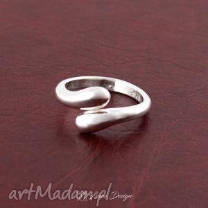 srebrny pierścionek krople - duży rozmiar, pierścionek, łezki, krople