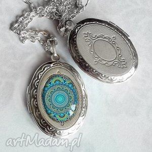 medalion otwierany turkusowa mandala - niebieski, srebrny, sekretnik, unikat, prezent