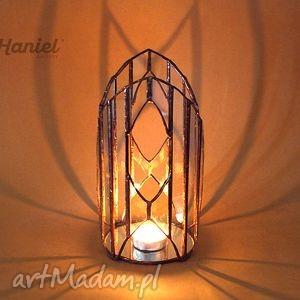 lampion witrażowy katedra skandynawska, lampion, świecznik, skandynawia, witraż