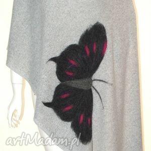 szal z motylkami wełną malowany - dzianina, wełna, filc, filcowanie