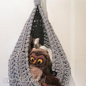koszyk wiszący - duży i pojemny ręcznie zrobiony z bawełnianego sznurka, kosz
