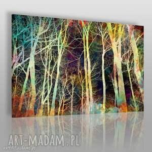 obraz na płótnie - noc drzewa gałęzie 120x80 cm 48301 , drzewa, gałęzie, noc, las