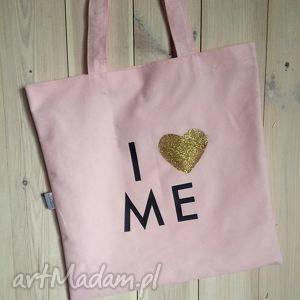 torba zakupowa różowa z sercem , różowa, brokatowa, szyk, brokat, złota, serce na