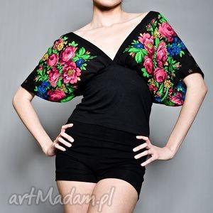 Kimonowa bluzka folk, bluzka, kimono, kwiaty