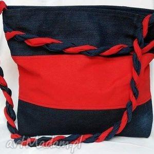 gabiell torba z recyklingu jeansu czerwoną pleciokną, torebka, tkanina, jeans
