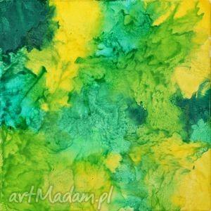 obrazy zieleń wiosenna abstrakcja, zieleń, wiosna, akstrakcja, prezent, zółty