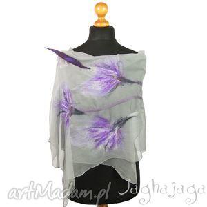 szaliki viola- szal filcowany na jedwabiu, szal, szyfon, kwiaty, zwiewny, jedwabny