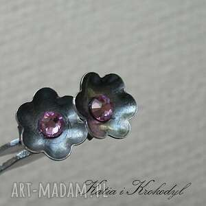 katia i krokodyl kwiatuszki vintage rose, srebro, swarovski, biżuteria