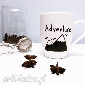 kubki kubek góry adventure, kubek, góry, malowany, biały