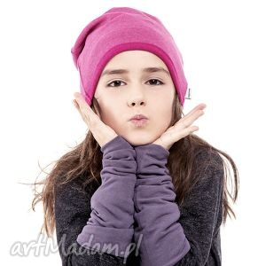 Wygodna i Praktyczna Czapka Dziecięca z Dzianiny Dresowej Różowy Melanż, czapka
