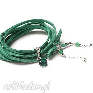 choker 2 w 1 - emerald, srebro, swarovski, onykszielony, choker, metaloplastyka