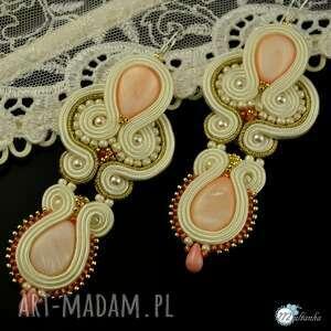 ślub kolczyki ślubne z masa perłową - sutasz, ślub, ecru, soutache