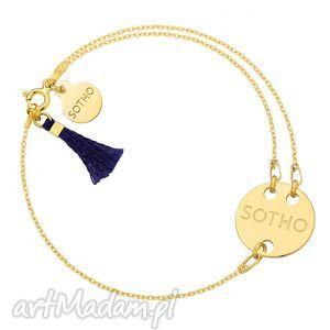 złota bransoletka z granatowym chwostem, modna, bransoletka, boho, zawieszka