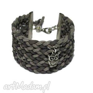 bransoletki szara bransoletka pleciona ręcznie zamszowa zaiweszka charms do wyboru