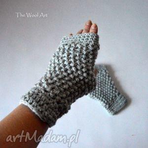 szare mitenki - mitenki, rękawiczki, nadłonie, dodatki, szare