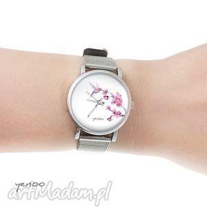 zegarek, bransoletka - koliber mały, bransoletka, koliber, kwiat, modny