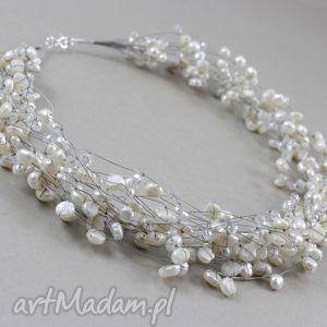 perły i kryształki w oplocie - piękny naszyjnik, perły, naturalne, srebro