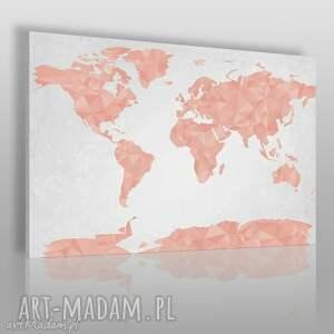 vaku dsgn obraz na płótnie - mapa świata geometryczna trójkąty różowy 120x80 cm