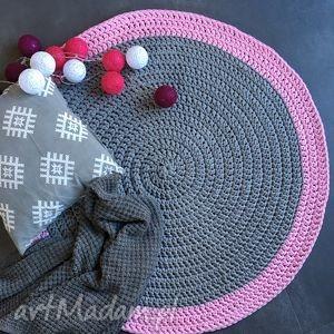 dywany dywan ze sznurka bawełnianego szary z różem 100 cm, dywan, chodnik, handmade