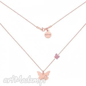 sotho naszyjnik z różowego złota motylami swarovski crystal, modny, minimalistyczny