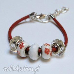 bransoletki czerwono-biała bransoletka z rzemienia skórzanego koralikami ze szkła