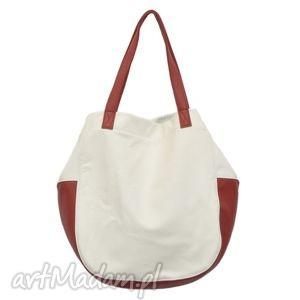 24-0006 Biała torebka damska worek / torba na studia SWALLOW, duże, modne, torebki