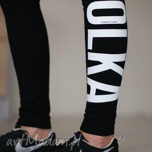 legginsy fajne modne czarne z napisem nadrukiem matka polka