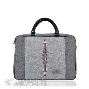 na laptopa torba romby 793, filcowa, haft, pikowana, szara, laptopowa