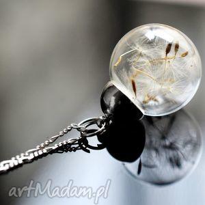 925 srebrny łańcuszek z dmuchawcami - dmuchawiec, nasiona, kula, srebro, srebrny