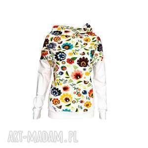 bluzka damska motyw łowicki, bluzkadamska, białabluzka, motywłowicki, kwiaty