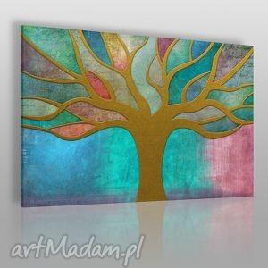 obraz na płótnie - drzewo witraż 120x80 cm 36101 , drzewo, witraż, kolorowy