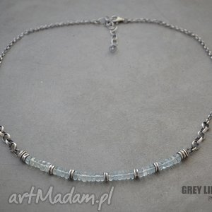 grey line project akwamaryn heishi naszyjnik v 1, srebro, akwamaryn, krótki, minerały