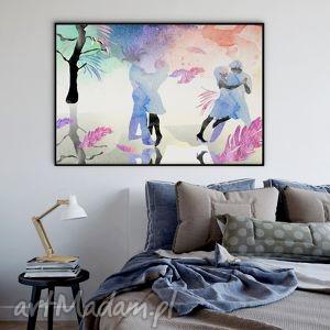 grafika zimowy taniec ilustracja - a4, akwarela, ilustracja, taniec, 20x30cm, a4