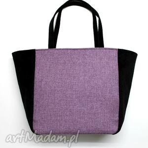 na ramię shopper bag worek - tkanina fiolet i czarna, elegancka, nowoczesna, handmade