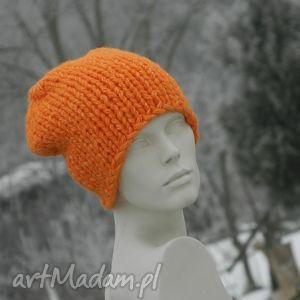 czapki pomarańczowy grubas czapka z alpacą, gruba, alpaca, ciepła, krasnal