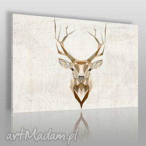 obraz na płótnie - jeleń geometryczny 120x80 cm 48501 , jeleń, zwierzę, poroże