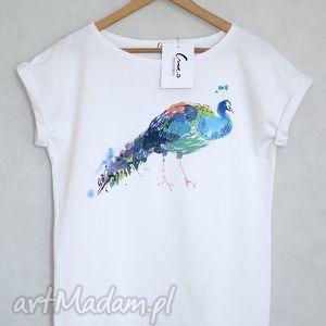 paw koszulka bawełniana biała s m, koszulka, oversize, paw, nadruk, bawełna, tshirt