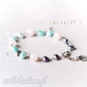 unikalny prezent, bransoletki subtle breeze , kamienie, naturalne, kwarc, perły