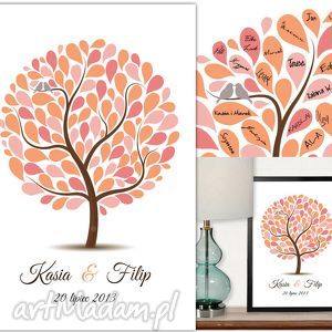 albumy kolorower drzewo gości weselnych - plakat artystyczny, drzewo, ksiega, gosci