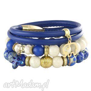 bransoletki lapis blue ivory , słonik, rzemień, jadeit, jaspis, swarovski