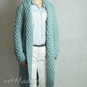 święta prezent, turquoise chunky, sweter, gruby, płaszcz, druty, kardigan swetry