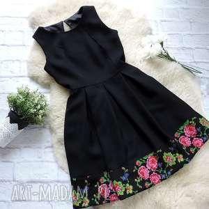 czarna sukienka z kontrafałdami folk kwiaty, sukienka, góralska, sukienki, góralskie