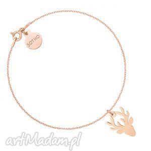 bransoletka z jeleniem różowego złota, bransoletka, rozowe, zloto, jeleń, jelonek