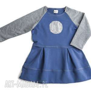 sukienka blue grey, sukienka, falbanka, niebieska, cekiny, dziewczęca, bawełna dla