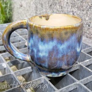 ceramika filiżanka jasno niebiesko brązowa 2 , filiżanka, kubek