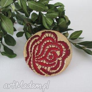 różana broszka - broszka, ceramiczna, róża