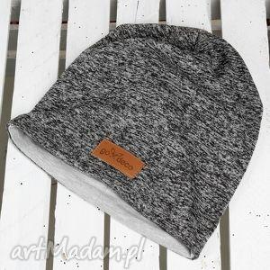 Prezent Czapka melanżowa ciepła, czapka, bawełna, beanie, szara, prezent